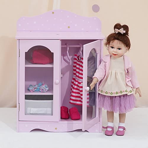 Olivia s Little World Twinkle Stars Princess 18 inch Doll Wooden Closet with 3 Hangers Fits product image
