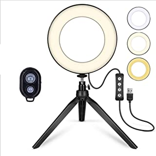 YLLN Lqdpdd Ring Light with Tripod Stand and Bluetooth Function, Ring Light with 270° Rotatable Gimbal Dimmable USB Chargi...