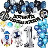 YFWUQI 1 Años Decoración Cumpleaños para Niños, Decoraciones de Cumpleaños con Globo de Cohetes de Astronauta, Guirnalda de Feliz cumpleaños y Globos Negros Azules, decoración de Fiesta de cumpleaños