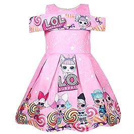 ShiJinShi Robe de soirée LOL pour fille Rouge et rose 3–8 ans