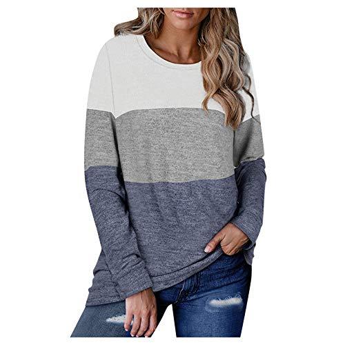 Geilisungren Damen Langarm T-Shirt Sweatshirt mit Rundhalsausschnitt Casual Farbblock Patchwork/Einfarbig Jumper Tops Lose Bluse Pullover