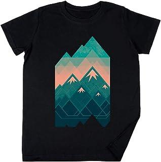 Vendax Geométrico Montañas Niños Chicos Chicas Unisexo Camiseta Negro