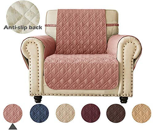 Ameritex Waterproof Nonslip Chair Cover for Leather, Dog Chair Cover Furniture Protector, Ideal Chair Slipcovers for Pets and Kids, Stay in Place (23', Pink)