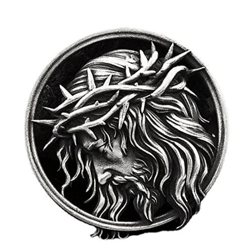 QLJYT Collares con Colgante de Crucifixión Cristiana para Hombre, Etiqueta de Cadena Católico Collar Religioso Joyería