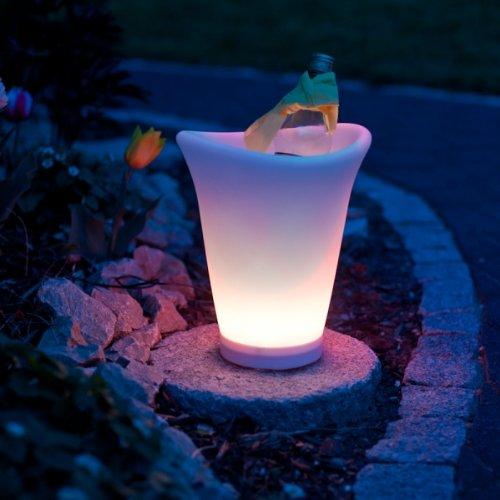 LED Sektkühler Weinkühler Champagnerkühler Getränkekühler mit LED und Farbwechsel, wasserdicht, kabellos, Eiswürfel-Behälter