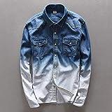 Camisa de jeans de primavera Camisa de mezclilla de cuero de maquillaje para hombres Camisas largas de algodón para hombres Camisas de gradiente de otoño para caballeros Camisa para hombres Química