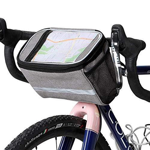 Borsa da Manubrio per Bicicletta,Borsa Anteriore isolata per Bicicletta da Bicicletta,Borsa da Manubrio MTB Tascabile, con Striscia Riflettente, per Accessori per attività All'aperto (6 L, Grigio)