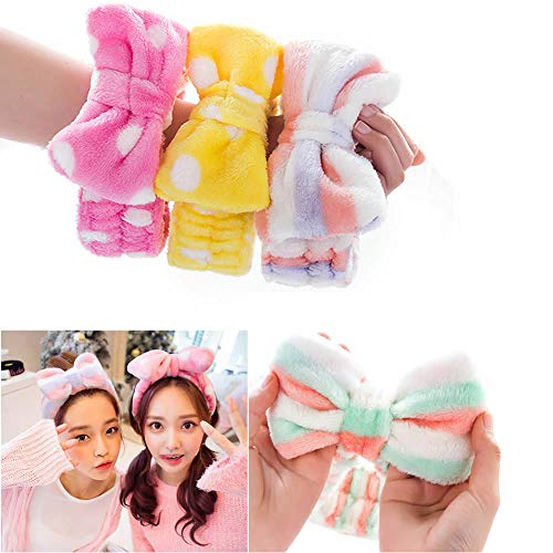 Dusenly Paquete de 3 diademas para el pelo con lazo,  para mujer,  para el maquillaje facial,  para la ducha,  para lavar la cara