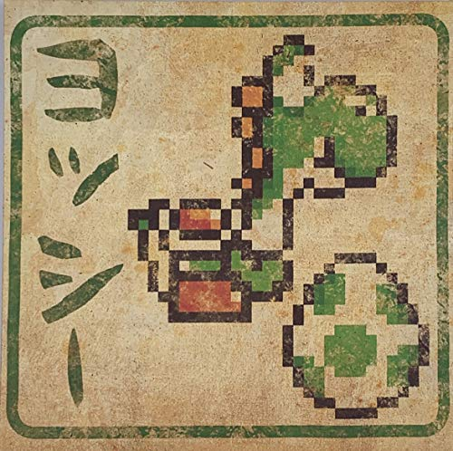 Super Mario 8 Bit Japanese 12X12 Inch Canvas Wall Art Picture Poster - Yoshi
