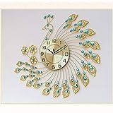 SHIJIE1701AA Despertadores Reloj de Pavo Real Reloj de Pared Sala de Estar Moderno Moderno Reloj Creativo Estilo Europeo Personalidad silencioso Reloj de Cuarzo Reloj Despertador (Color : B)