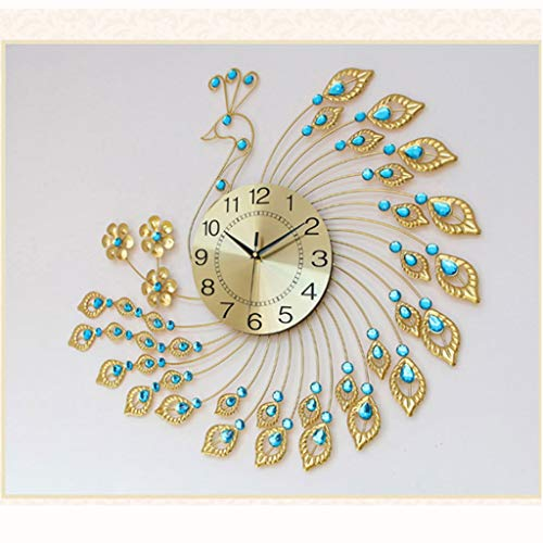 hongbanlemp Reloj Sobremesa Reloj de Pavo Real Reloj de Pared Sala de Estar Moderno Moderno Reloj Creativo Estilo Europeo Personalidad silencioso Reloj de Cuarzo Escritorio Reloj (Color : B)