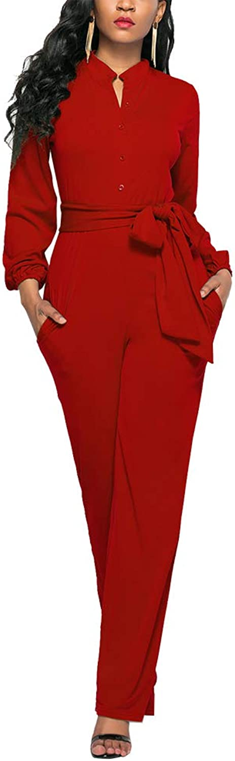 Ophestin Womens Long Sleeve Jumpsuit for Work Wide Leg Pants Rompers with Belt Red Size XL