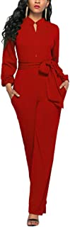 womens red jumpsuit long sleeve