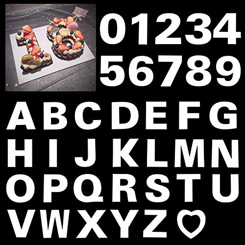 8inch Alphabet Cake Stencils Letter Stencil A-Z 26Pcs,0-9 Number Cake Templates 10Pcs with a Heart Mold for Birthday Wedding Anniversary (37Pcs)