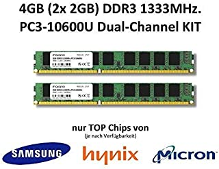4 GB (2 x 2 GB) Dual Channel kit DDR3 1333 MHz PC3 – 10600U 240 pin 2RX8 CL9 Non-ECC 1,5 V PC trabajo Memoria Memory