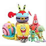 INGFBDS jouets en peluche Bob l'éponge / 6 pcs/lot Patrick Star Anime doux dessin animé poupée en peluche 20 cm 1 pc jaune