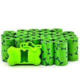 Best Pet Supplies Dog Poop Bags for Waste Refuse Cleanup, Doggy Roll Replacements for Outdoor Puppy Walking and Travel, Leak Proof and Tear Resistant, Thick Plastic - Green Bone, 360 Bags (GB-360)