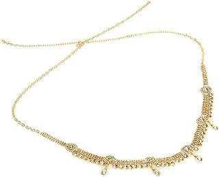 WomenSky Stylish Gold Polished Golden White Kamarpatta Kamar Kardhani Waist Chain Kamarband, Ottiyanam Vaddanam Waistchain...