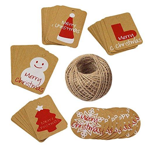 Weihnachten kraftpapier Etiketten Tags 100 Stück Geschenkanhänger Anhänger Etiketten mit 30 M Juteschnur für das Dekorieren von Weihnachtsbaum, handgemachte Arbeit (Christmas Set)