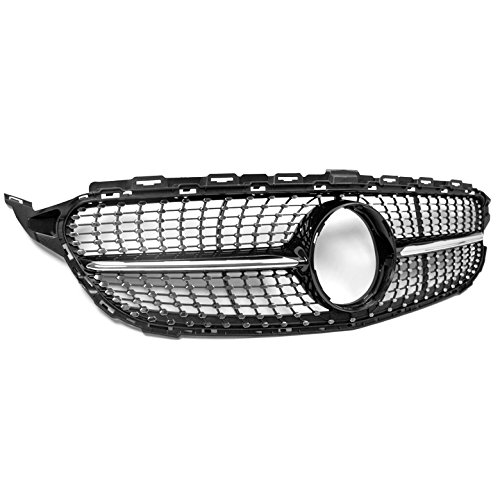 ZMAUTOPARTS For Mercedes-Benz C-Class W205 Diamond Style Front Upper Hood Grille Black with Chrome Trim