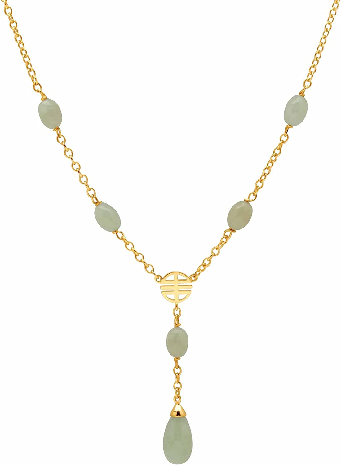 Gold-Plated Pear Shaped Genuine and Green Jade Y Drop Station Necklace (8mm), Lobster Claw Clasp, 17 inches