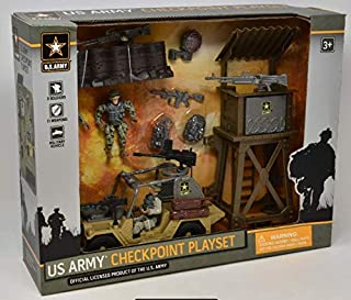 US Army Military Toy Play Set with Watchtower Military Vehicle Action Soldier Figures and Weapon Accessories, 11 Piece Eli...