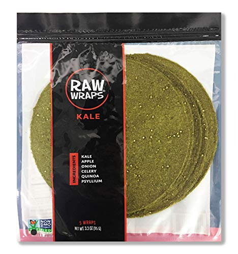 Raw Wraps, Gluten Free, Paleo, and Keto Friendly, Shelf Stable, 5 Wraps per Pack , Vegan, Non-GMO, No Added Salt or Sugar, Yeast Free, Low Carb Tortilla Wraps, Kale Flavor