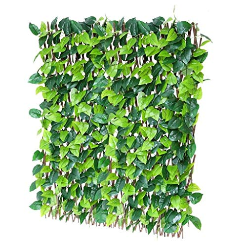 BBGS Garden Expanding Wood Fence, With Leaves Flower Stand Climbing Vines Mesh Courtyard Balcony Guardrail Decorative Frame, 120cm Height