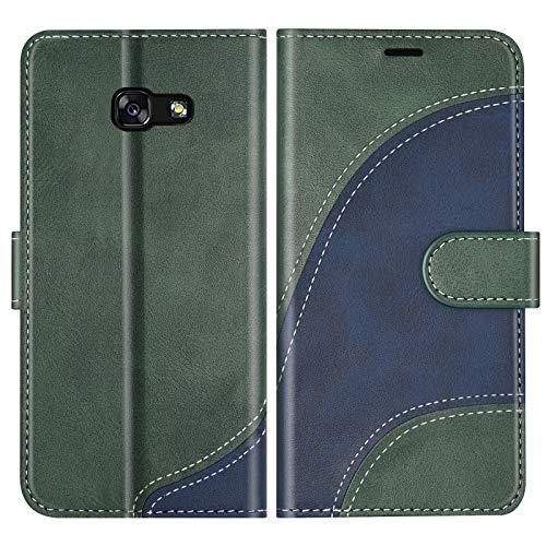 BoxTii Cover per Galaxy A5 2017, Custodia in PU Pelle Portafoglio per Samsung Galaxy A5 2017, Magnetica Cover a Libro con Slot per Schede, Verde