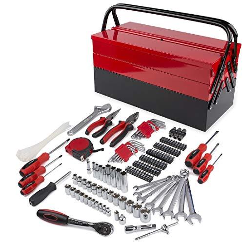 FOURROBBER Werkzeugkoffer 192-teilig Haushalt Werkzeugkasten werkzeugkoffer gefüllt,Eisen CRV Werkzeug-set Steckschlüssel-Satz, Professionelle Reparatur Werkzeugkiste für Fahrrad Auto kfz usw.