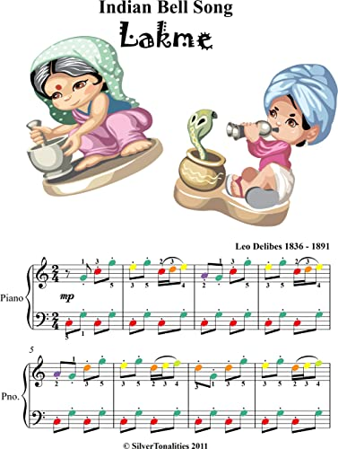 Indian Bell Song Easy Piano Sheet Music with Colored Notes (English Edition)