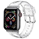 iiteeology Compatible with Apple Watch Band 38mm 40mm, Women Glitter Soft Silicone Sports iWatch Band Strap for Apple Watch Series 6/5/4/3/2/1/SE - 38mm 40mm Clear/Silver