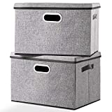 Seckon Large Foldable Storage Bin with Lid [2-Pack] Linen Fabric Decorative Storage Box Organizer Containers Basket Cube with Handles Divider for Bedroom Closet Office Living Room