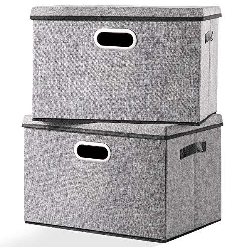 Cajas de almacenamiento grandes y plegables con tapas [2 paquetes] de tela de lino decorativas de almacenamiento organizador de contenedores cesta cubo con asas divisor para dormitorio, oficina, sala de estar y armario