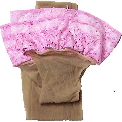 Unbekannt Halterlose Strümpfe 20 den leicht glänzend versch. Spitzenabschlüsse mit Silikon Farben alle Größen (XL, haut-rosa)