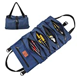 Wessleco Roll Up Tool Bag, Wrench Roll Up Pouch Multi-Purpose Canvas Tool Roll Organize for Electrician, HVAC, Plumber, Carpenter or Mechanic (Blue)
