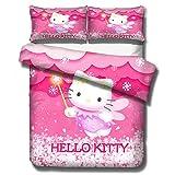 Kit di biancheria letto per bambini Hello Kitty, biancheria da letto per 3D Hello Kitty, 1 copripiumino e 2 federe, letto singolo da bambina, biancheria da letto matrimoniale-J_135x200 cm (2 pcs)