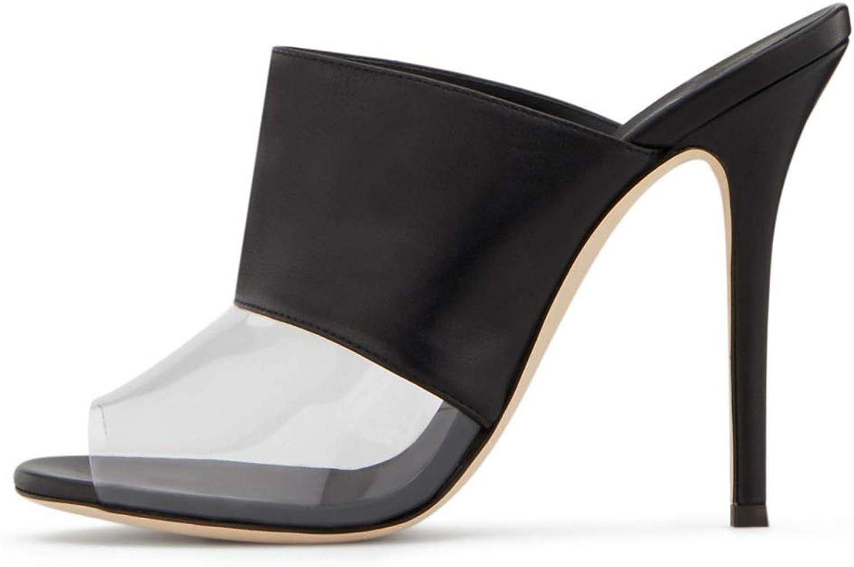 Women's Ladies Heeled Sandals Slingback Slippers Stiletto Heels shoes Pumps Transparent Slip On Open Toe Dress Slide shoes Black