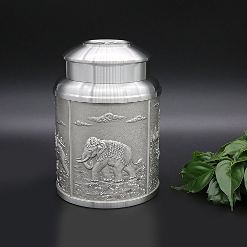 Oriental Pewter - Pewter Tea Storage, Caddy -TPCL2- Hand Carved Beautiful Embossed Pure Tin 97% Lead-Free Pewter Handmade in Thailand