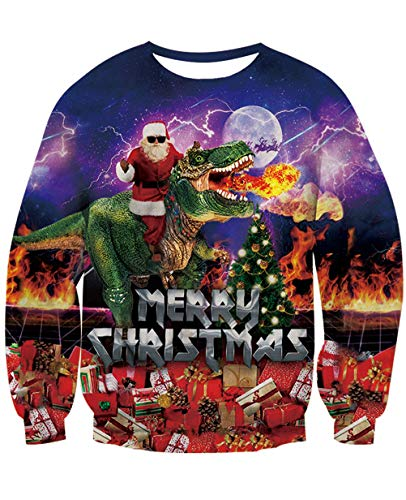 NEWISTAR Mens Sweater Ugly Christmas Personality Santa Claus Dinosaur Graphic Jumpers XL