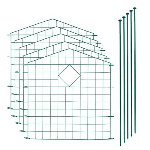 IHD Teichzaun Gartenzaun 11tlg Set Zaun Teich 5 Zaunelemente Gitterzaun Metall grün Oberbogen spitz mit Raute