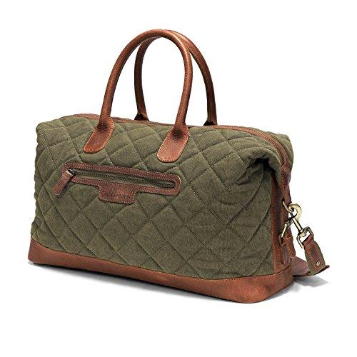 DRAKENSBERG Kimberley Air Traveller, borsa da viaggio, compatto, bagaglio a mano, borsone, bagaglio, tela, canvas, pelle, vintage, lussuosamente, verde oliva, marrone