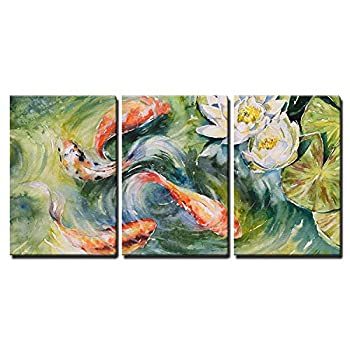 wall26 3 Piece Canvas Wall Art - Colorful Watercolor of Koi Fishes Swimming in Pond - Home Art Ready to Hang - 24 x36  in