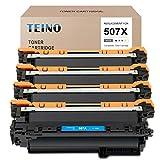 TEINO Compatible Toner Cartridge Replacement for HP 507A 507X CE400X CE401A CE402A CE403A use with HP Laserjet Enterprise 500 Color M570dn M551n M575dn M570dw (Black, Cyan, Magenta, Yellow, 4-Pack)