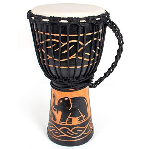 AKLOT Afrikanische Trommel, handgeschnitzt, Bongo-Kongo-Djembe-Trommel, 20,3 cm, Mahagoni-Ziegenfell für Kinder Anfänger