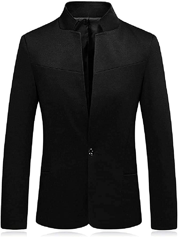 Mens Solid Color One Button Stand Collar Long Sleeve Business Blazer Jacket Sport Coat