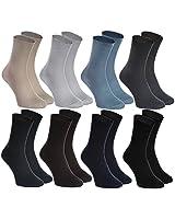 Rainbow Socks - Women Men Diabetic Non-Binding Loose Socks - 8 Pairs - Navy Blue Gray Blue Beige Brown Pewter Black - Size UK 10-11,5 / EU 44-46