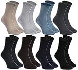 Rainbow Socks - Hombre Mujer Calcetines Diabéticos Sin Elasticos - 8 Pares - Beige Marrón Negro Grafito Azul Marino Caqui Azul y Gris - Talla 42-43