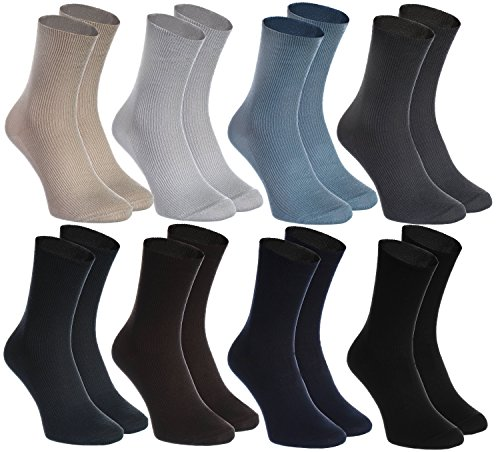 8 pairs of DIABETIC Non-Elastic Cotton Socks for SWOLLEN FEET, Classic Colors M