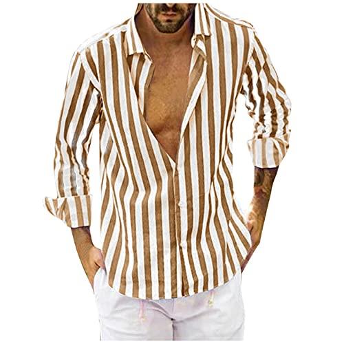 Dasongff Camiseta para hombre, de verano, informal, con botones, para otoño e invierno, de manga larga, corte regular, ajustada, informal, ligera, a rayas, camisetas de playa, camisa hawaiana